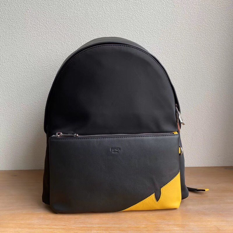 Top Quality Fendi Backpack Black Nylon with Front Pocket