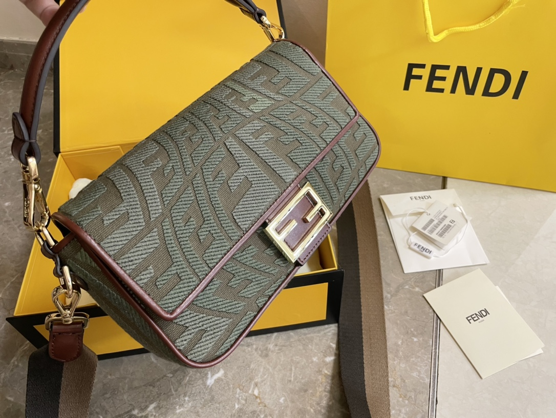 Top Quality Fendi Baguette Gray Embroidered Yellow Canvas Bag