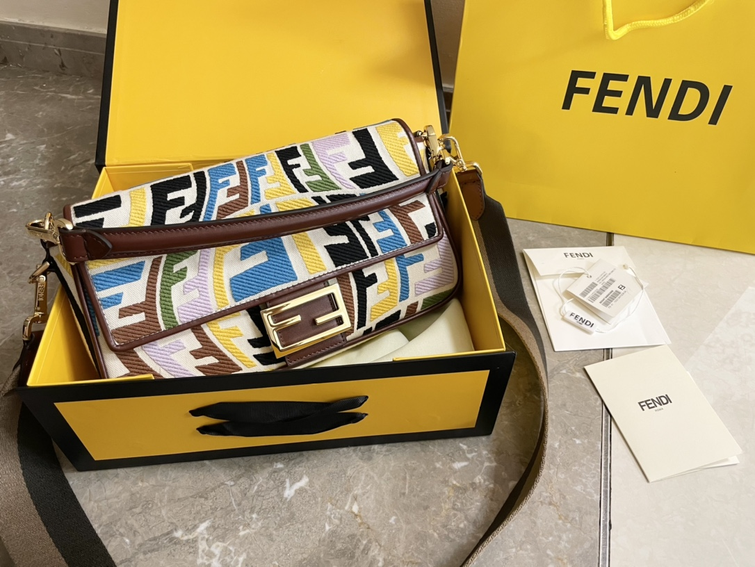 Top Quality Fendi Baguette Multicolor Embroidered Yellow Canvas Bag