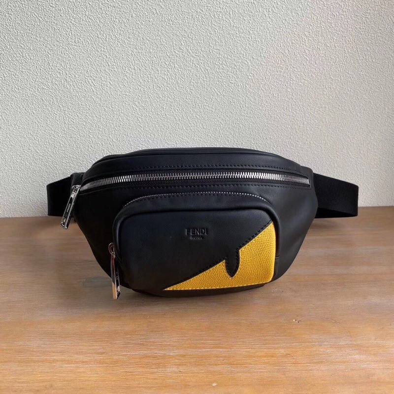Top Quality Fendi Black Calfskin Belt Bag with Zip Fastening
