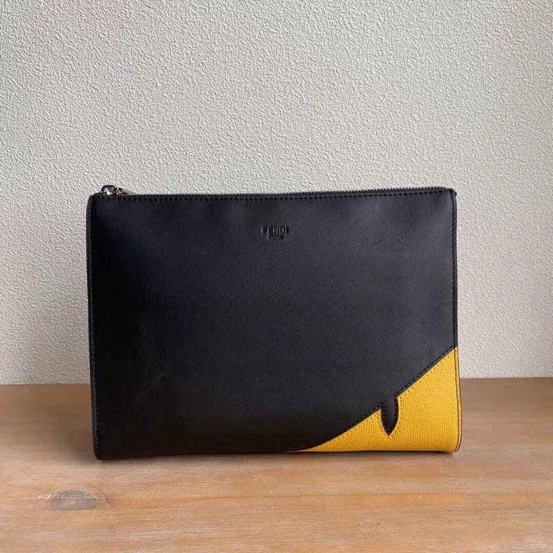 Top Quality Fendi Clutch Black Calfskin Pochette with Zip Closure
