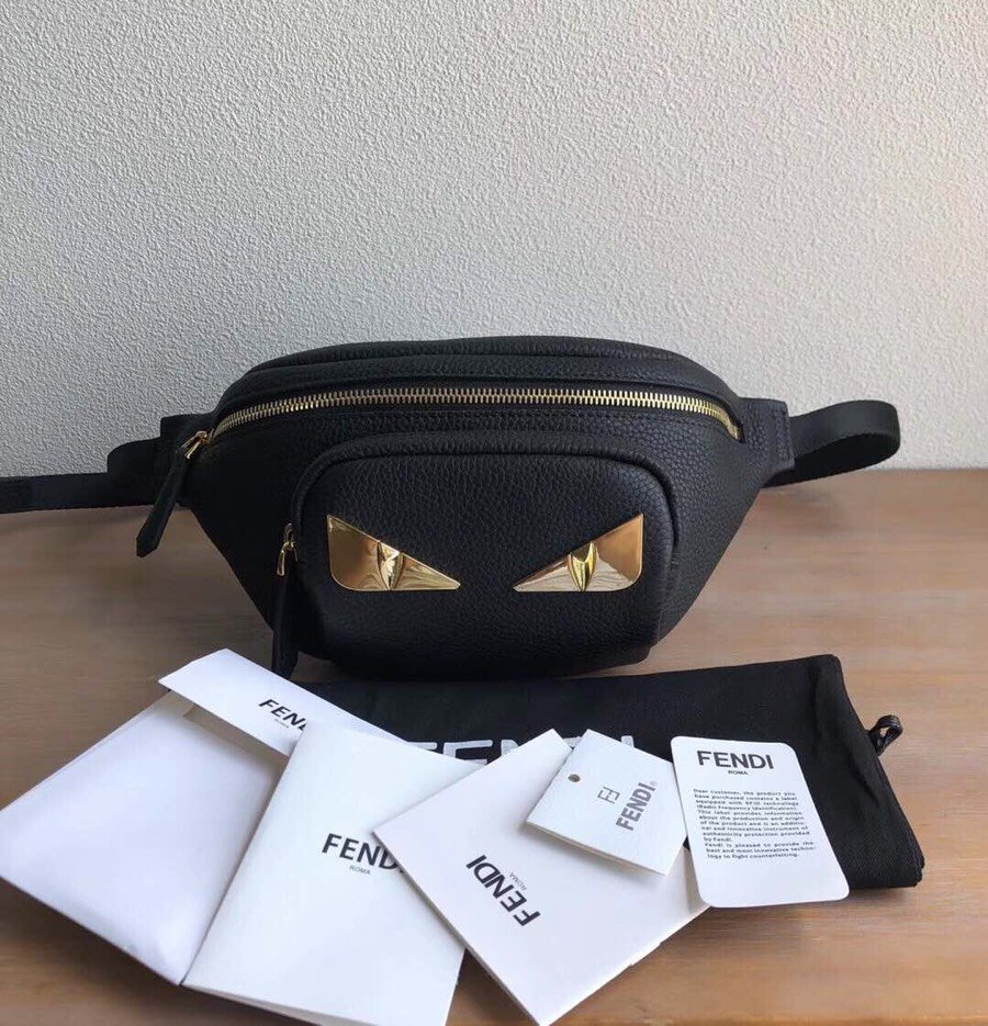 Top Quality Fendi Men Black Romano Leather Belt Bag