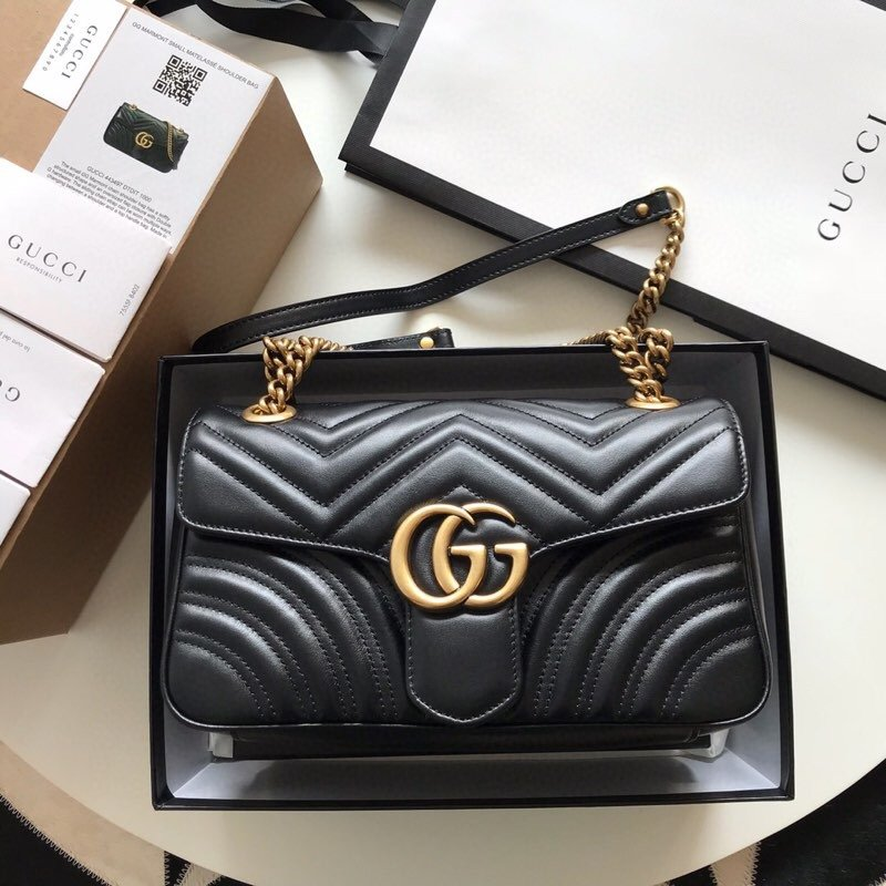 Top Quality Gucci 443497 GG Marmont Small Matelasse Shoulder Bag Black
