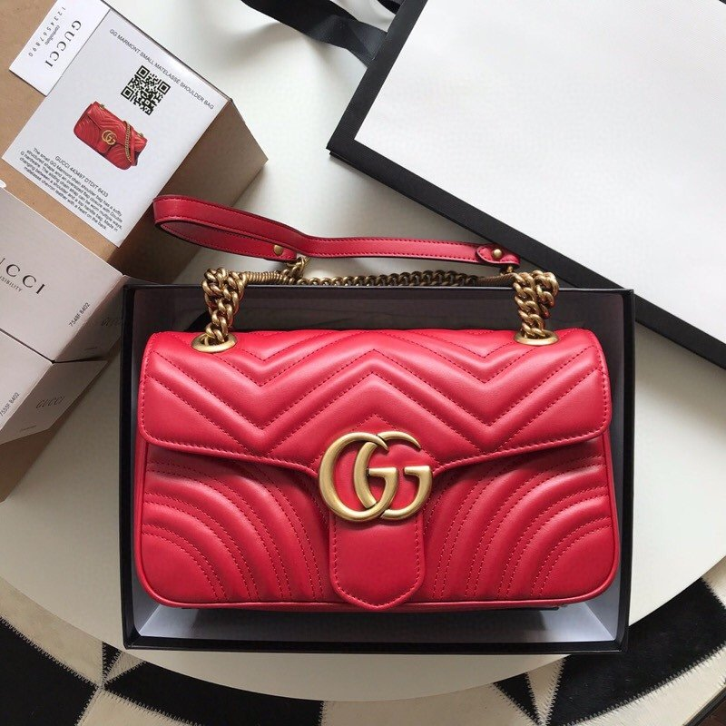 Top Quality Gucci 443497 GG Marmont Small Matelasse Shoulder Bag Red