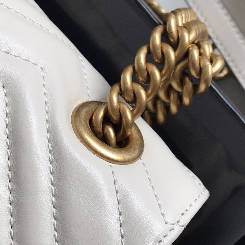 Top Quality Gucci 443497 GG Marmont Small Matelasse Shoulder Bag White