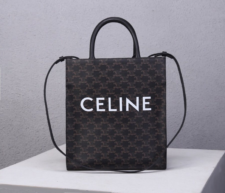Top Replica Celine Women Small Cabas vertical in Triomphe Canvas  Black