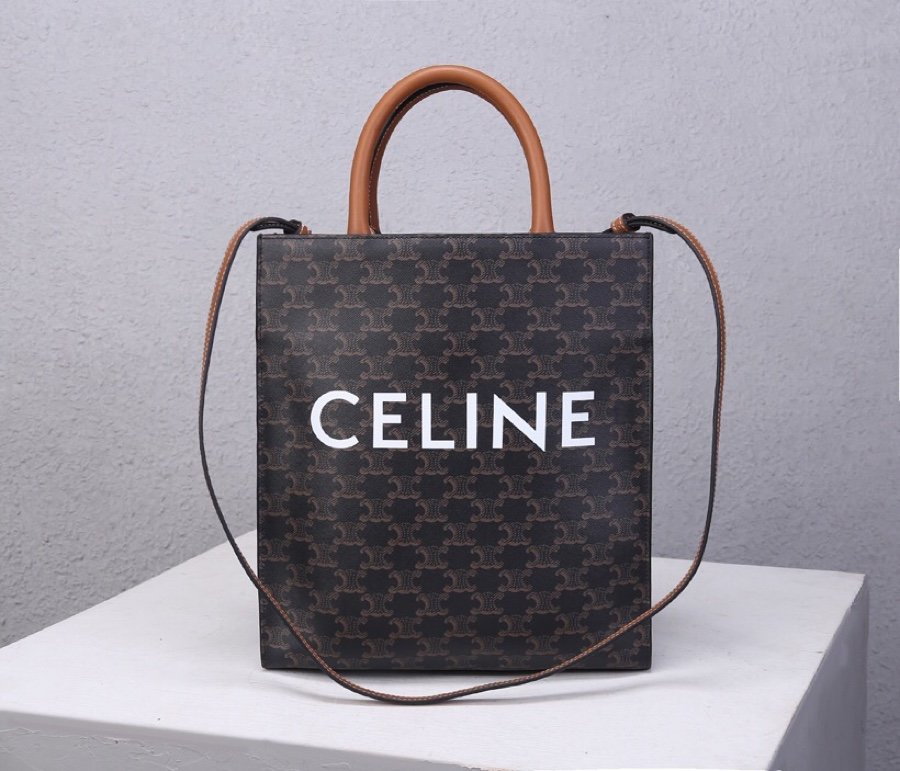 Top Replica Celine Women Small Cabas vertical in Triomphe Canvas