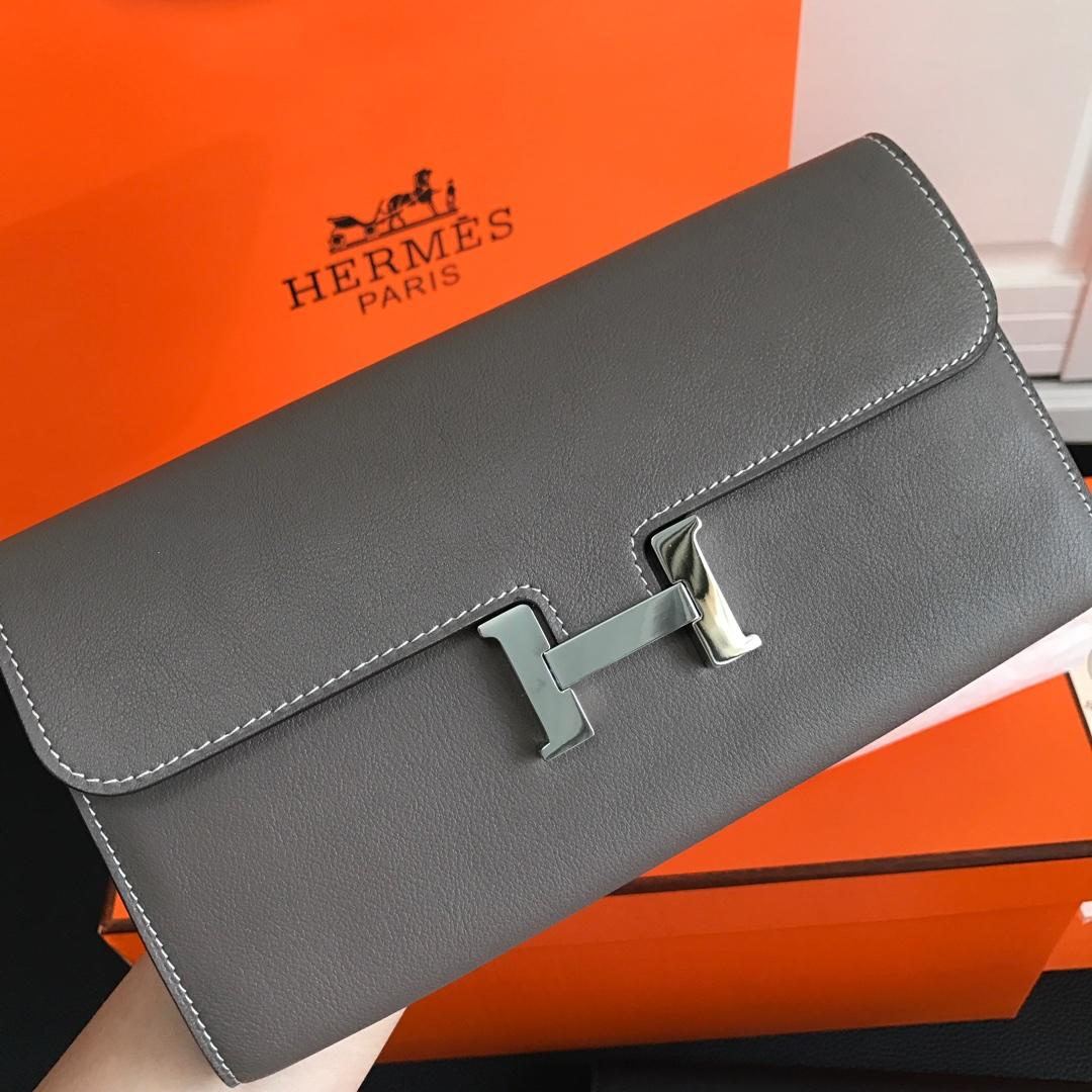 Top Replica HERMES Constance Long Wallet Gris Asphalt Epsom Grey with Silver-Tone Metal