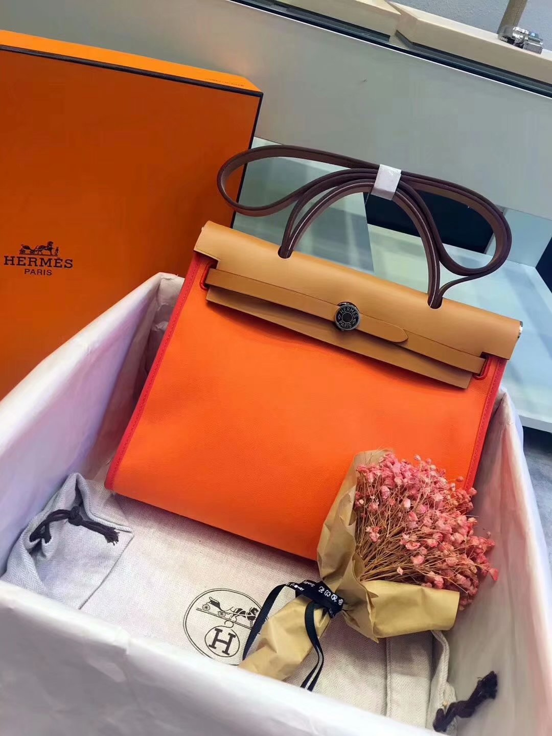 Top Replica Hermes Herbag 31cm Burgundy Canvas Bag Orange and Coffee