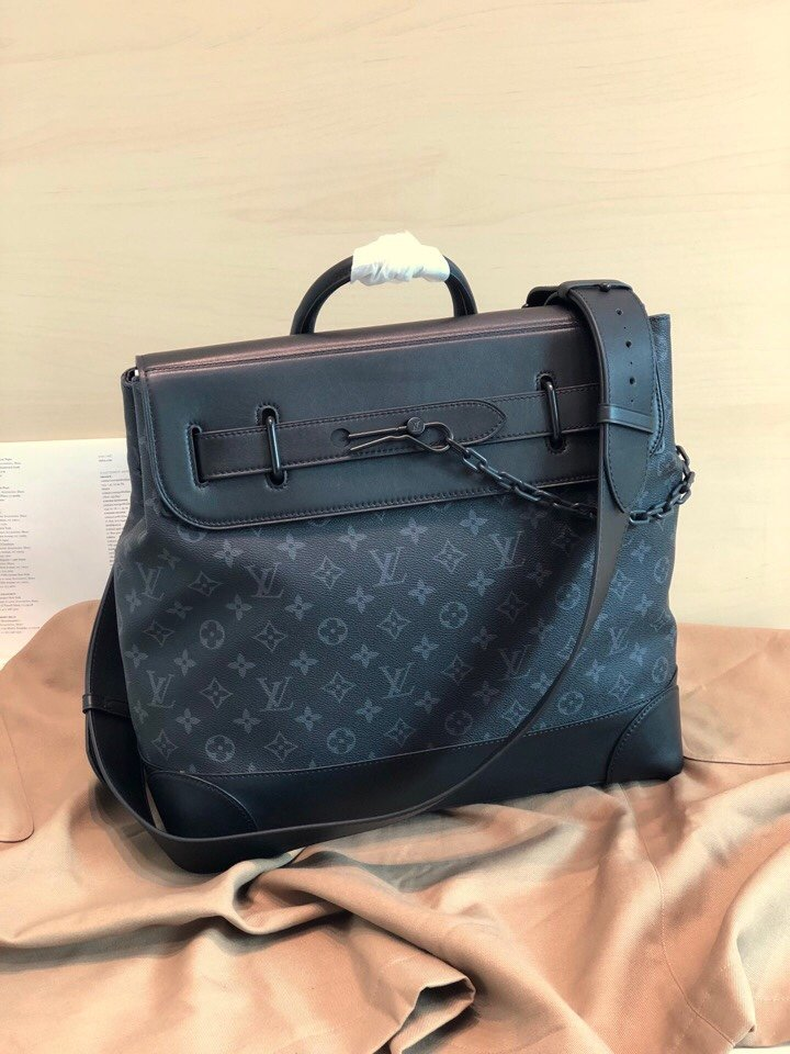 Top Replica Louis Vuitton M44731 Men Steamer PM Monogram Eclipse Coated Canvas