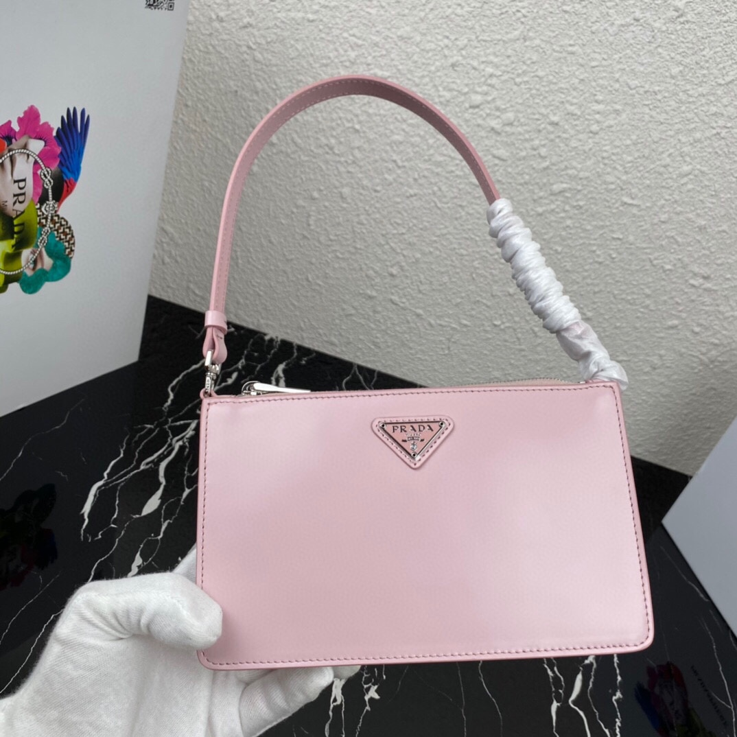 Top Replica Prada 1BC155 Brushed Leather Mini-Bag Pink
