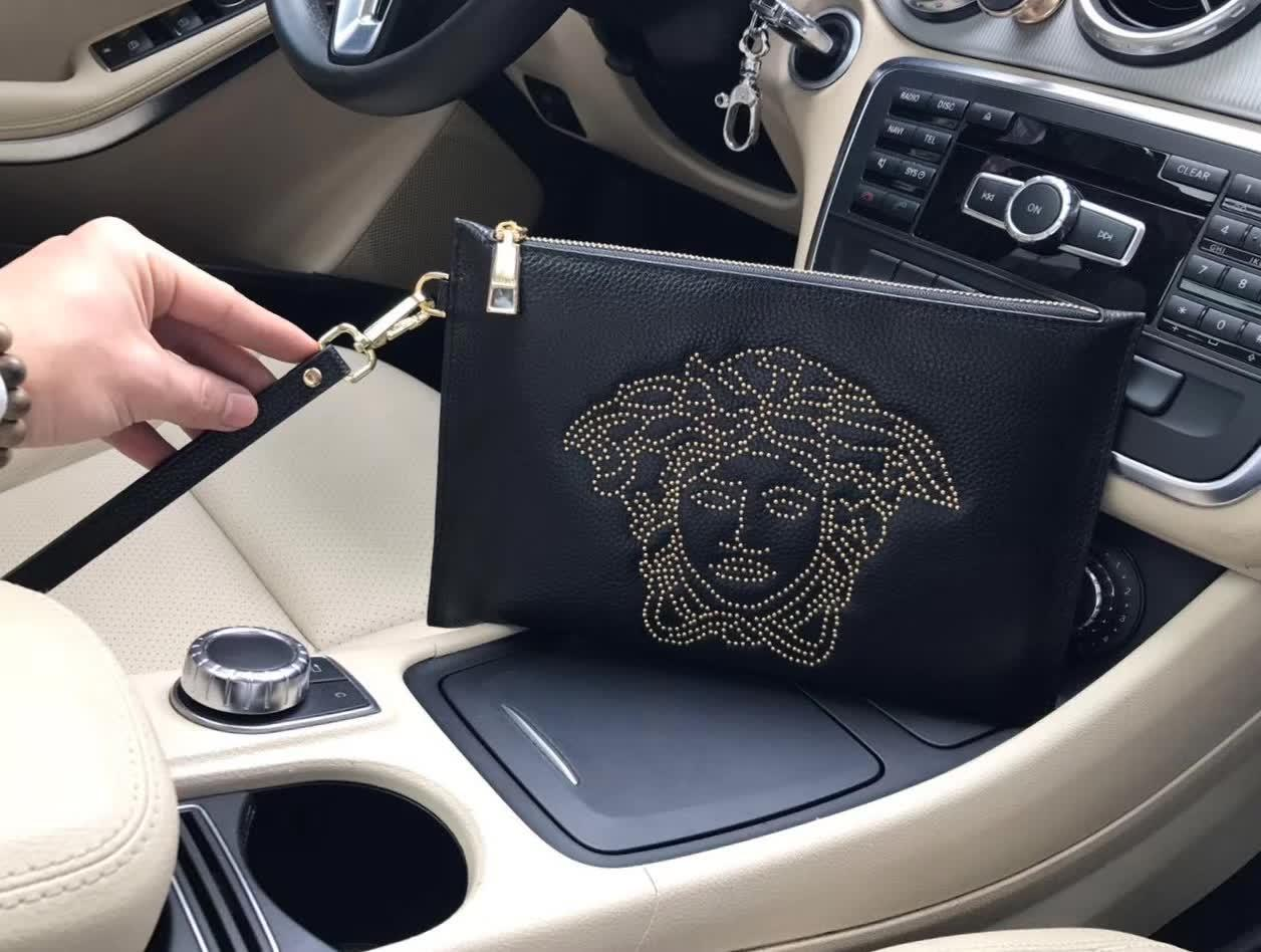 Versace 9002-5 Leather Men Clutch Bag Black