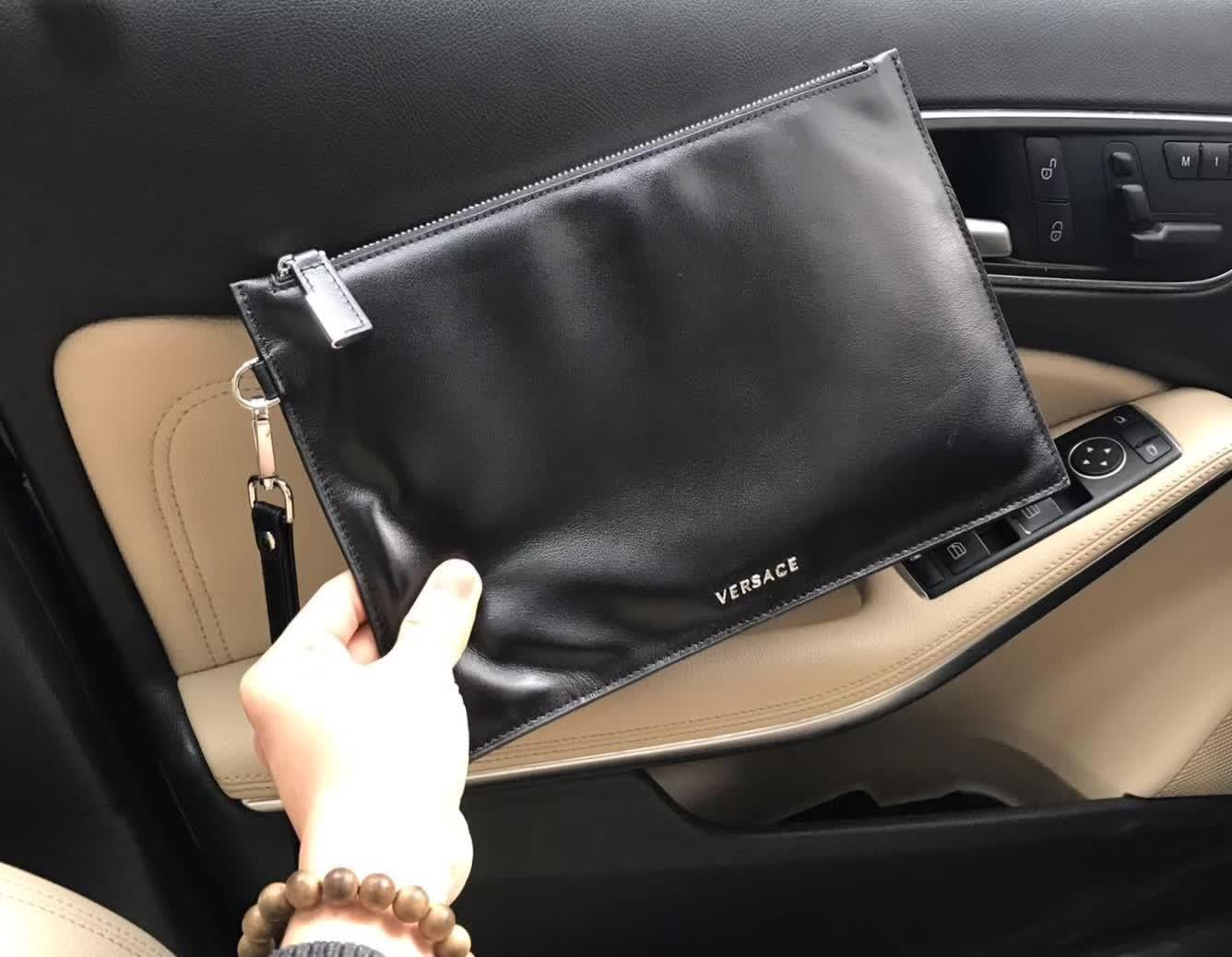 Versace 9005-5 Leather Men Clutch Bag Black